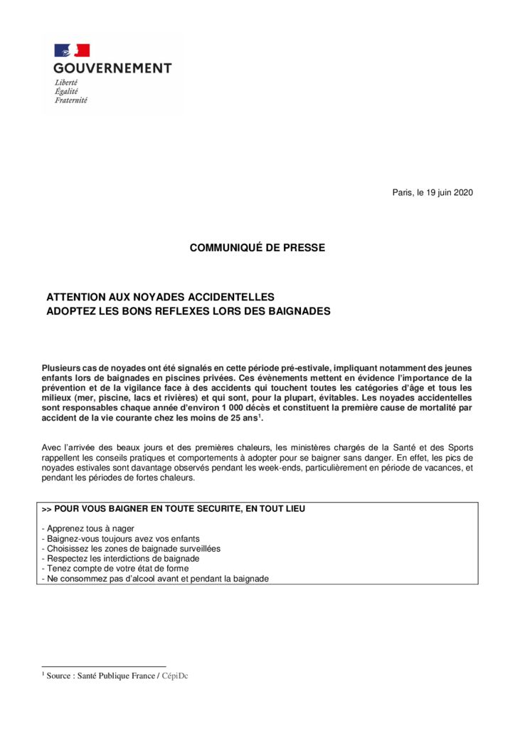 thumbnail of Communique de presse – prevention noyades